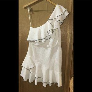 Halston white and black off the shoulder dress